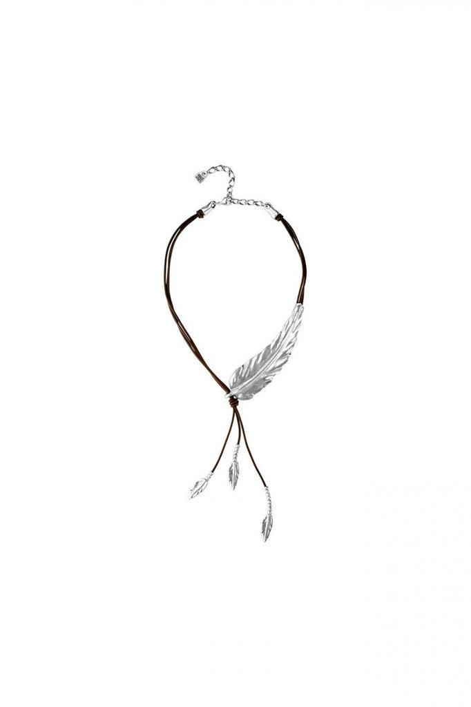Leather Silver Feather Necklace