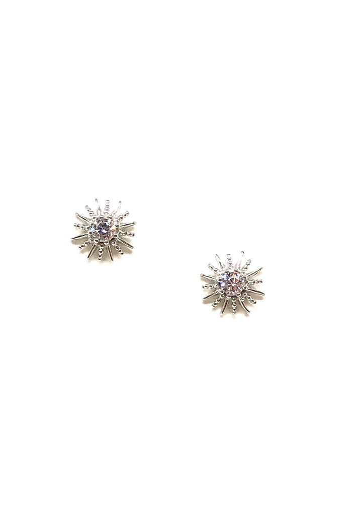 Cora Sun Stud Earrings In Silver