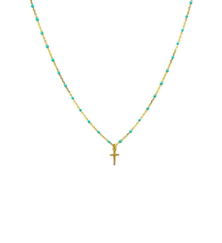 Enamel Beaded Cross Necklace