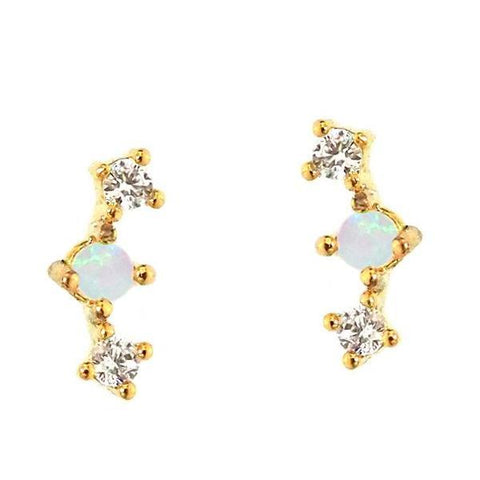 CZ & Opal Mini Bar Post Earrings