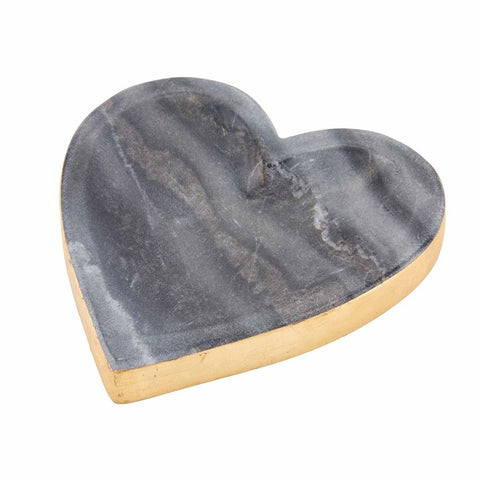 Gold Edge Marble Heart Tray