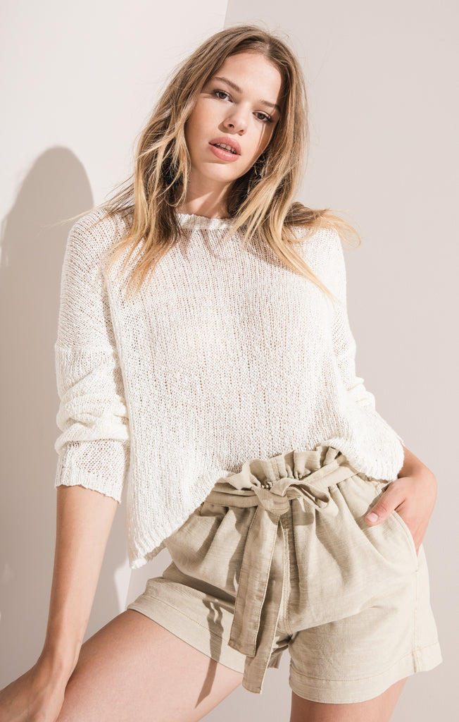 Rag Poets Amargosa Cropped Sweater In White