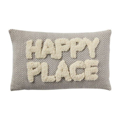 """Happy Place"" Tufted Pillow"