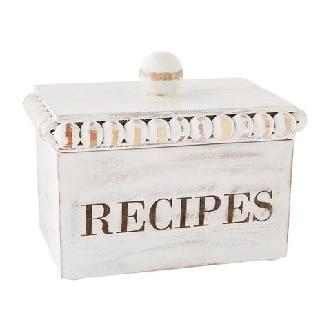 White Beaded Recipe Box