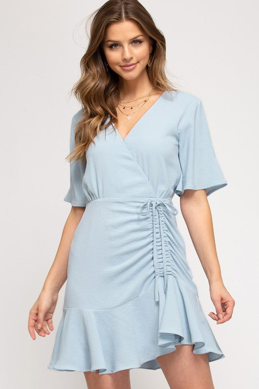 Ray Flutter Sleeve Ruched Dress, Misty Blue