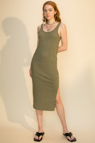 Harper Side Slit Midi Dress, Smoke Olive