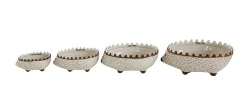 Creative Co-op 1-1/2, 1, 1/2 & 1/4 Cup Hand-Painted Stoneware Hedgehog Measuring Cups, Set of 4