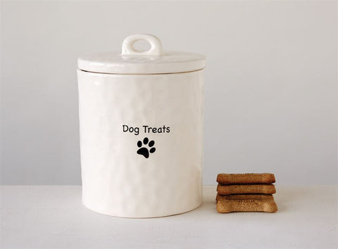 "4-1/4"" Round x 5-3/4""H Stoneware Canister ""Dog Treats"", White Creative co-op"
