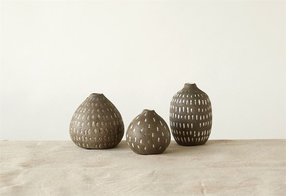 "Creative Co-op 5-1/2"", 4-3/4""& 3-3/4""H Terra-cotta Vases w/ Hand-Painted Lines, Grey, Set of 3"