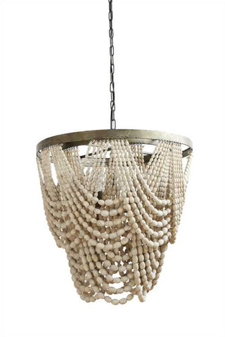 Sia Wood Bead Chandelier