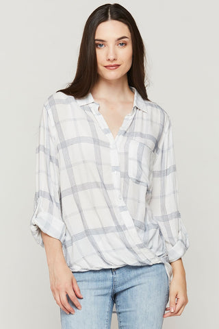 Denise Plaid Surplice Top