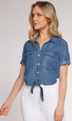 Daphne Denim Front Tie Top