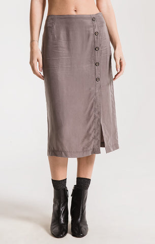 Rag Poets Calais Button Front Midi Skirt In Castor Gray