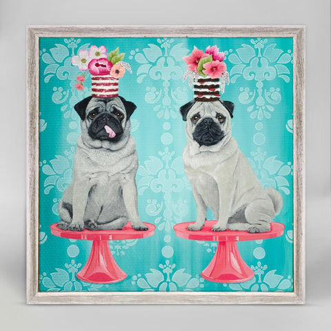 Double Pugs Mini Framed Canvas