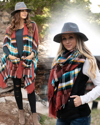 Grace & Lace 'Pocket Poncho Scarf' – Spiced Black