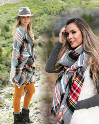 Pocket Poncho Scarf by Grace & Lace, Festive Tartan