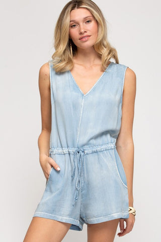 Blaine Washed Denim Romper, Light Blue