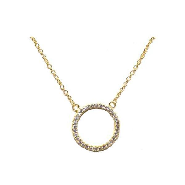 Gold Open Circle Pave Necklace