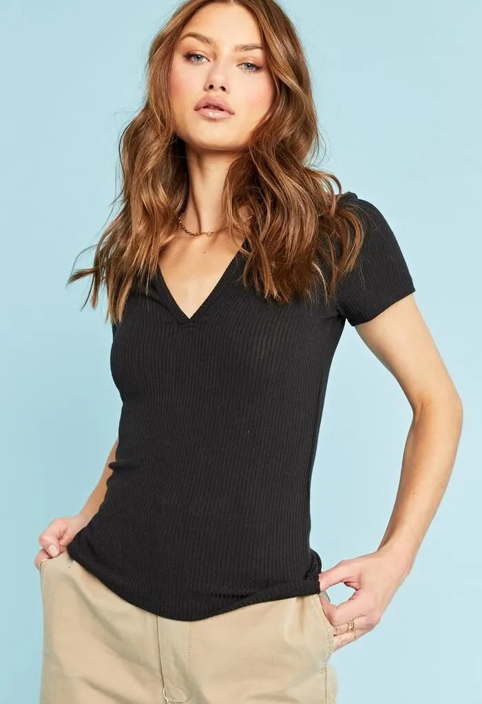 Notch Rib Short-Sleeve Top in Black
