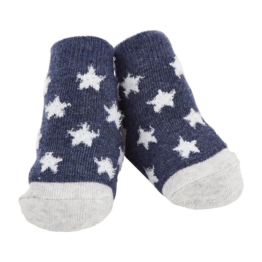 Navy Chenille Star Socks