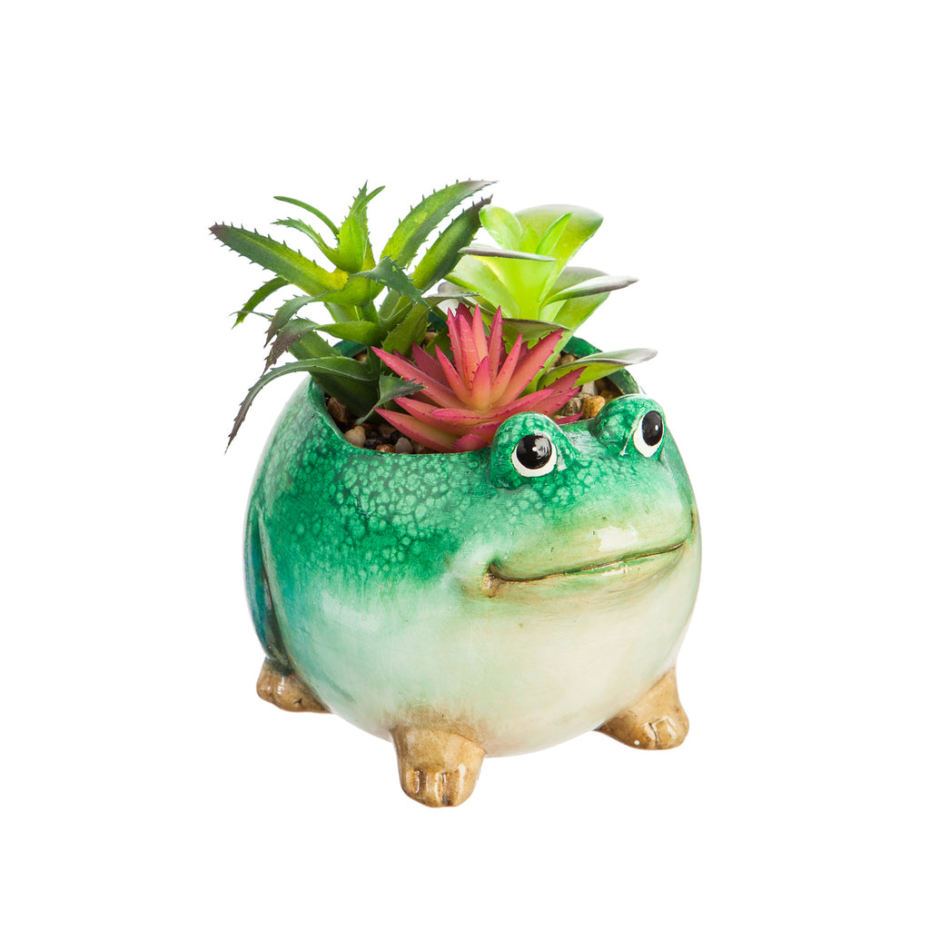 Ceramic Frog Planter with Faux Succulent