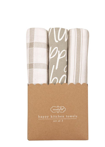 Happy Dish Towel Set, Grey
