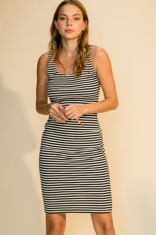 Julia Striped Rib Tank Dress, Black