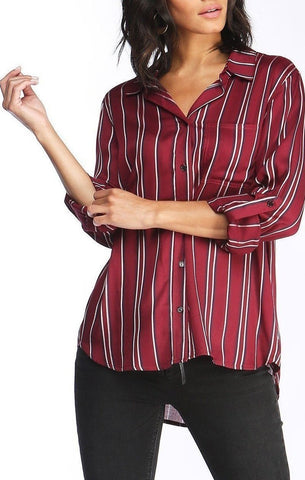 Elisa Striped Button Up In Wine
