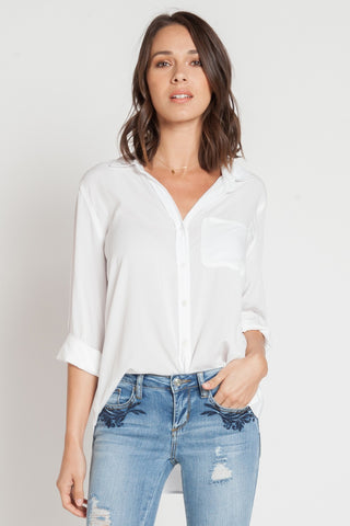 Elisa White Button Down With High Low Hemline