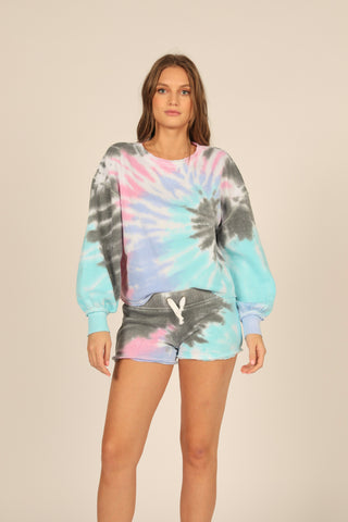Tie-Dye Balloon Sleeve Crewneck
