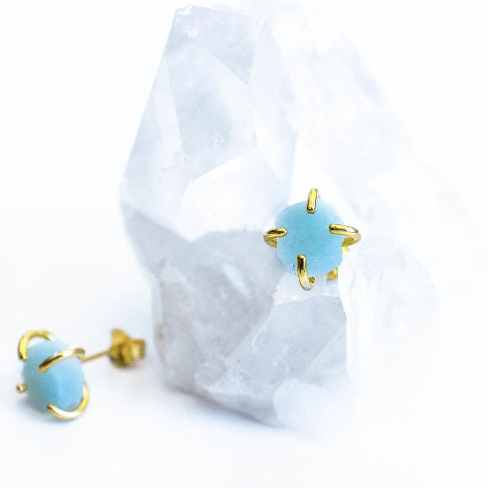 Amazonite Gold Prong Studs
