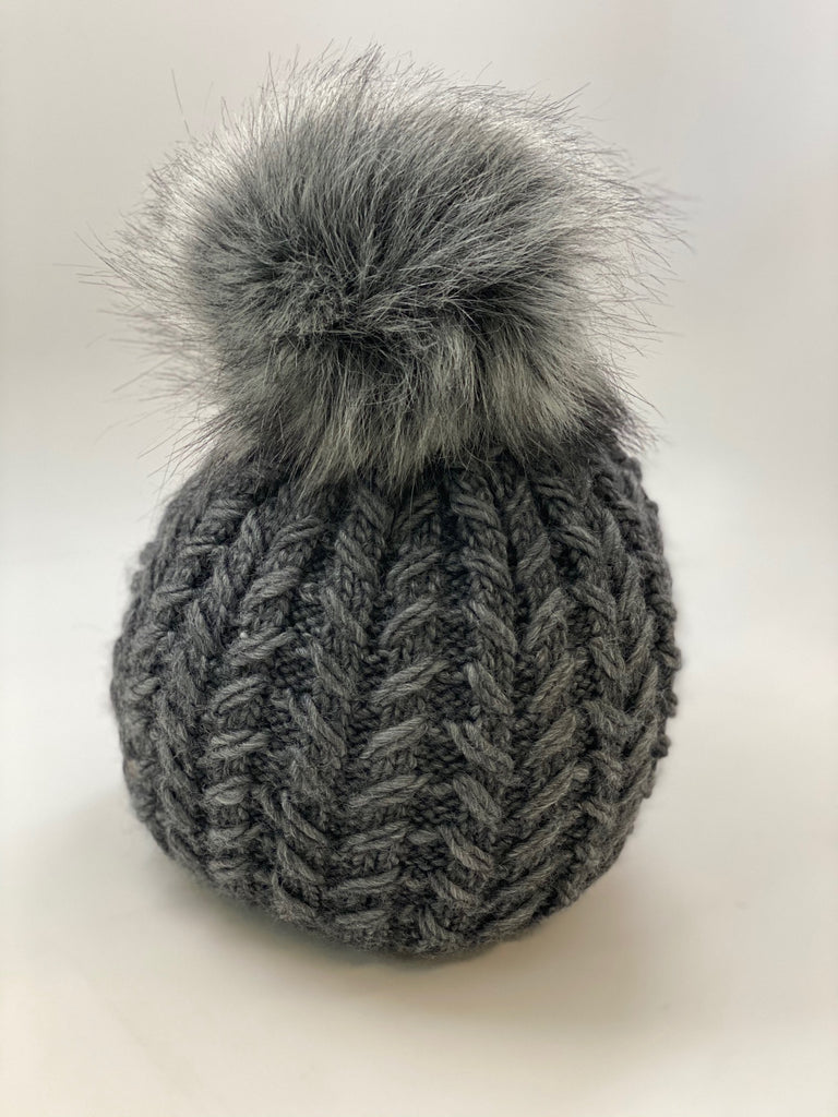 Beanie With Faux Fur Pom - Dark Grey