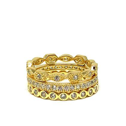 Ariana Stackable Ring Set, 3 Gold