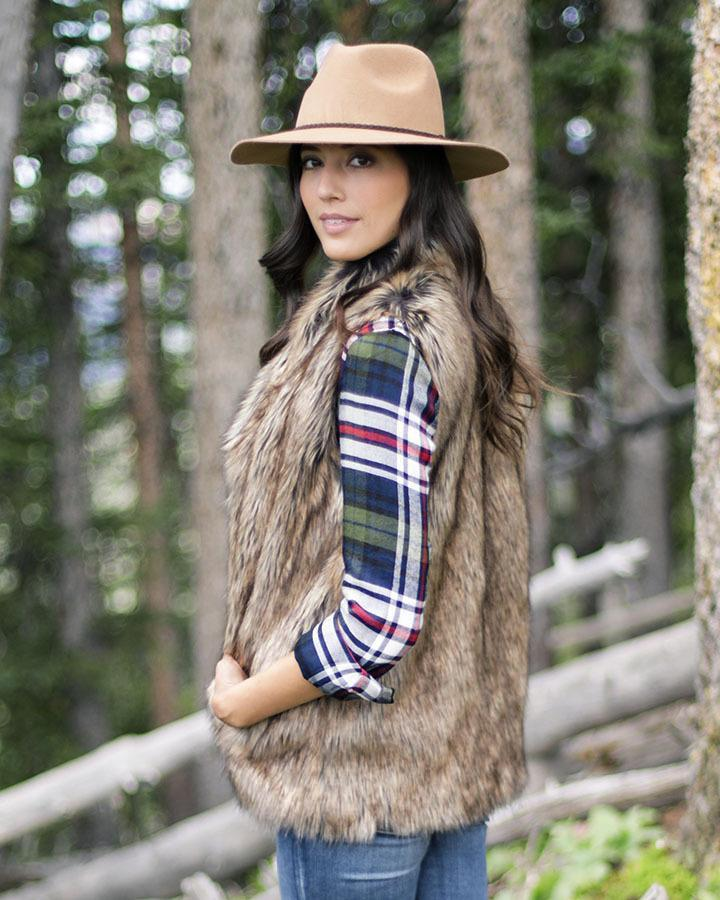 Faux Fur Vest by Grace & Lace, Fawn