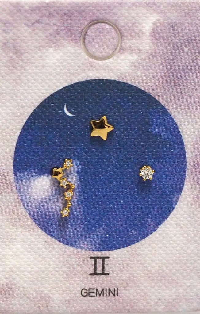 Tai Jewelry Zodiac Constellation Earrings - Gemini