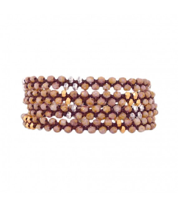 Glass Wrap Bracelet In Smoky Topaz