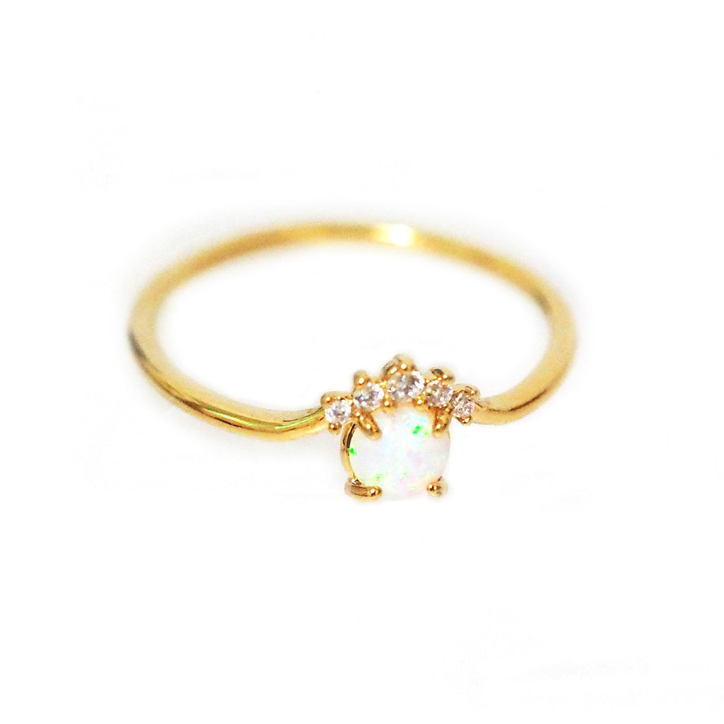Gold Ring With Opal & CZ Accent