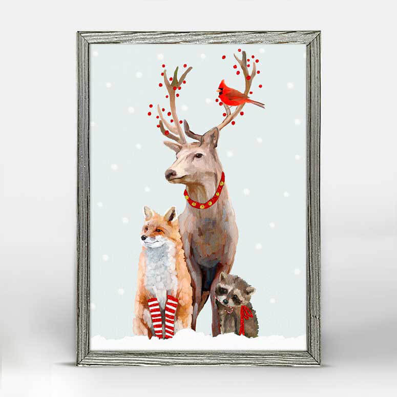 Holiday Collection – 'Christmas Buck & Buddies' Mini Framed Canvas