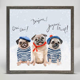 Holiday Collection – '3 French Pugs' Mini Framed Canvas