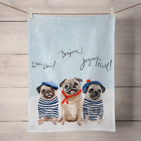 3 French Pugs Tea Towel
