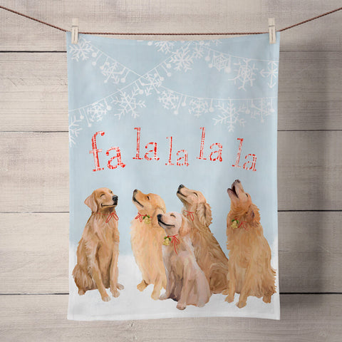 Holiday Collection '5 Goldens Singing' Tea Towel