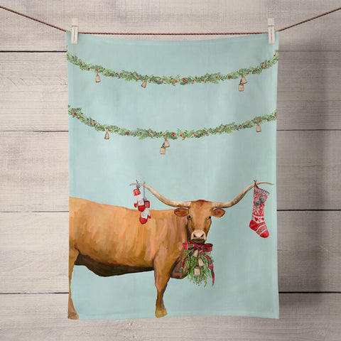 Holiday Collection 'Festive Longhorn' Tea Towel