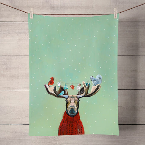 Holiday Collection 'Moose In Sweater' Tea Towel