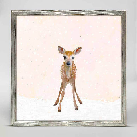 Holiday Collection – 'Snowy Fawn' Mini Framed Canvas