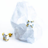White Howlite Gold Prong Studs Jax Kelly