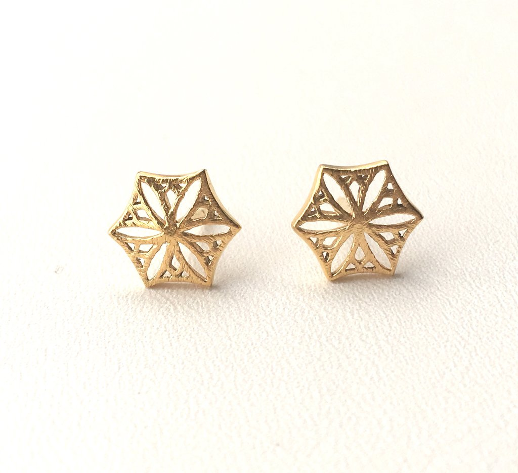Colorado Snowflower Studs, Gold