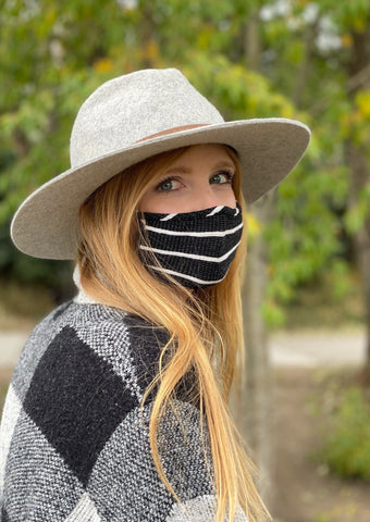 Adult Reusable Face Mask, Black Stripe