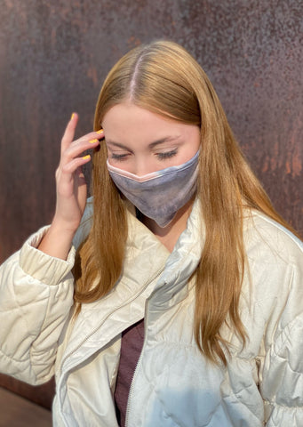 Adult Reusable Face Mask, Grey Peach Tie-Dye