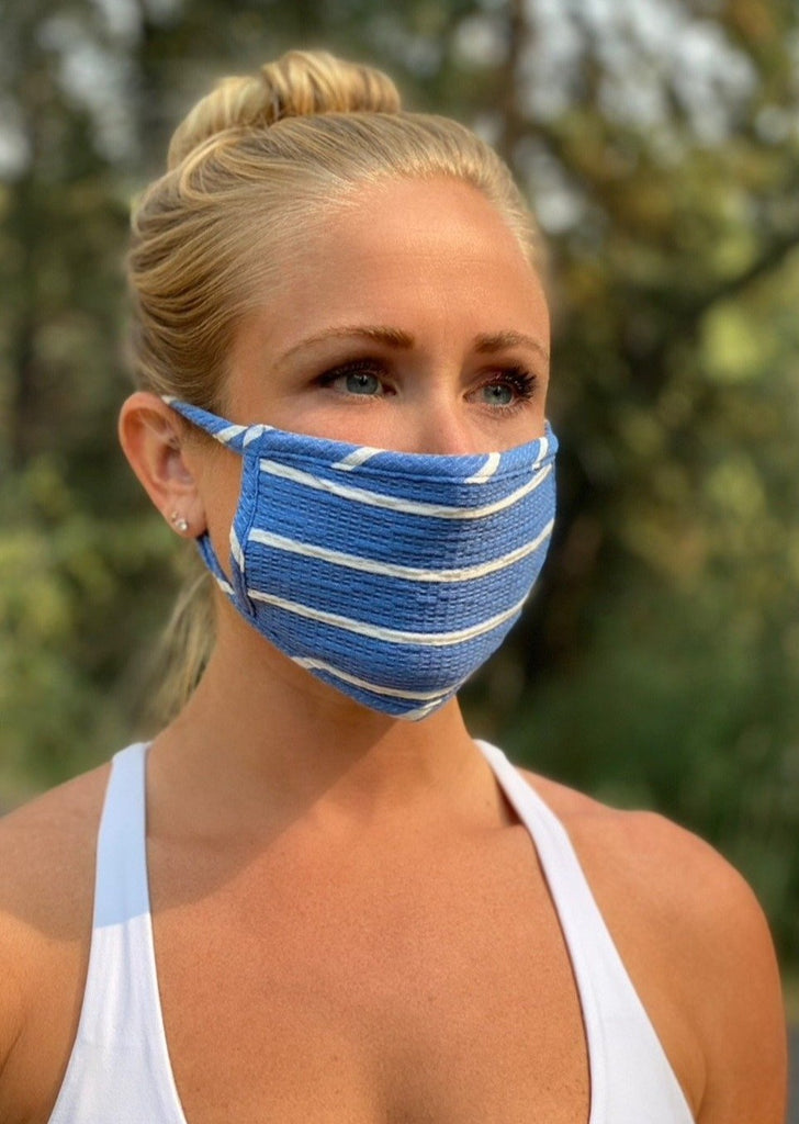 Adult Reusable Face Mask, Sky Bright Stripe
