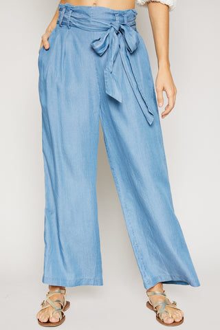 Lakeside Wide Leg Chambray Pant
